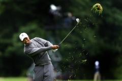 Tiger Woods Drives a Divot